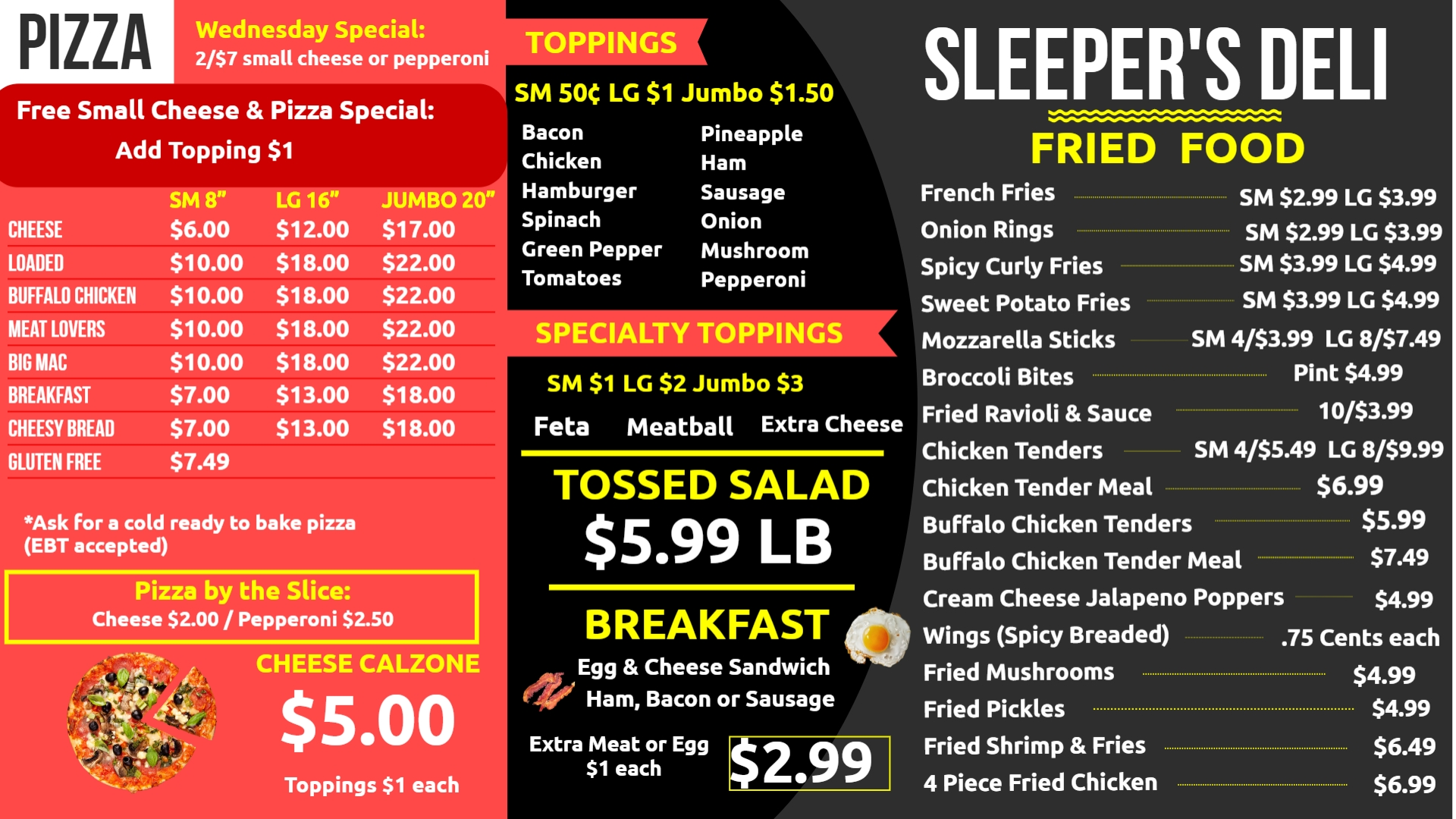 Menu Sleepers Supermarket Limington